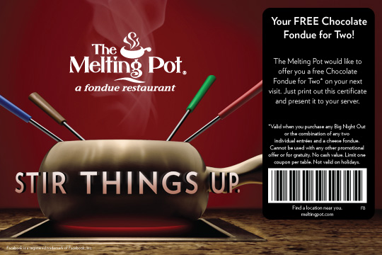 Melting Pot Coupons: Get $25 Off Any Two, 4-course Meals.